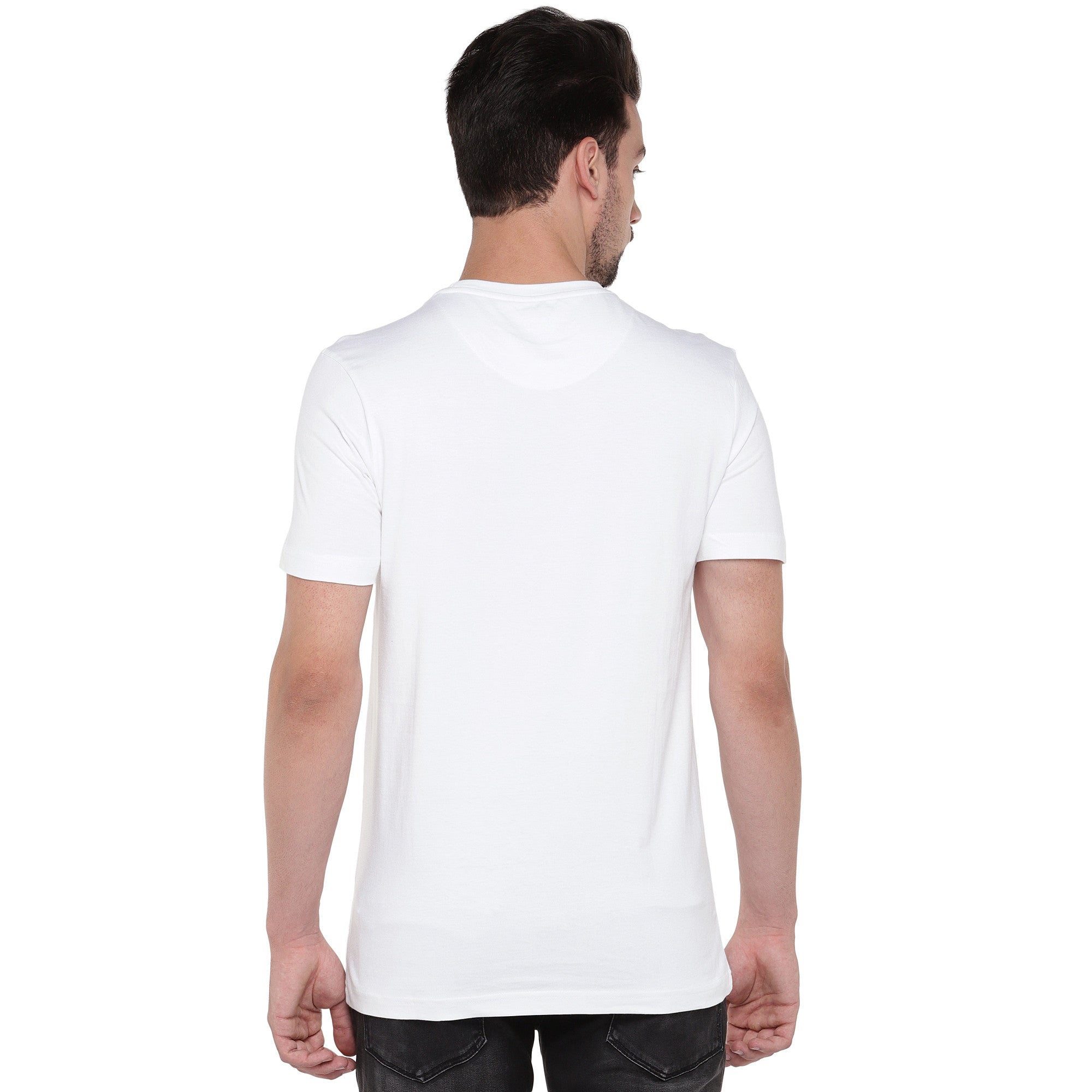 Men White Printed Round Neck T-shirt-3