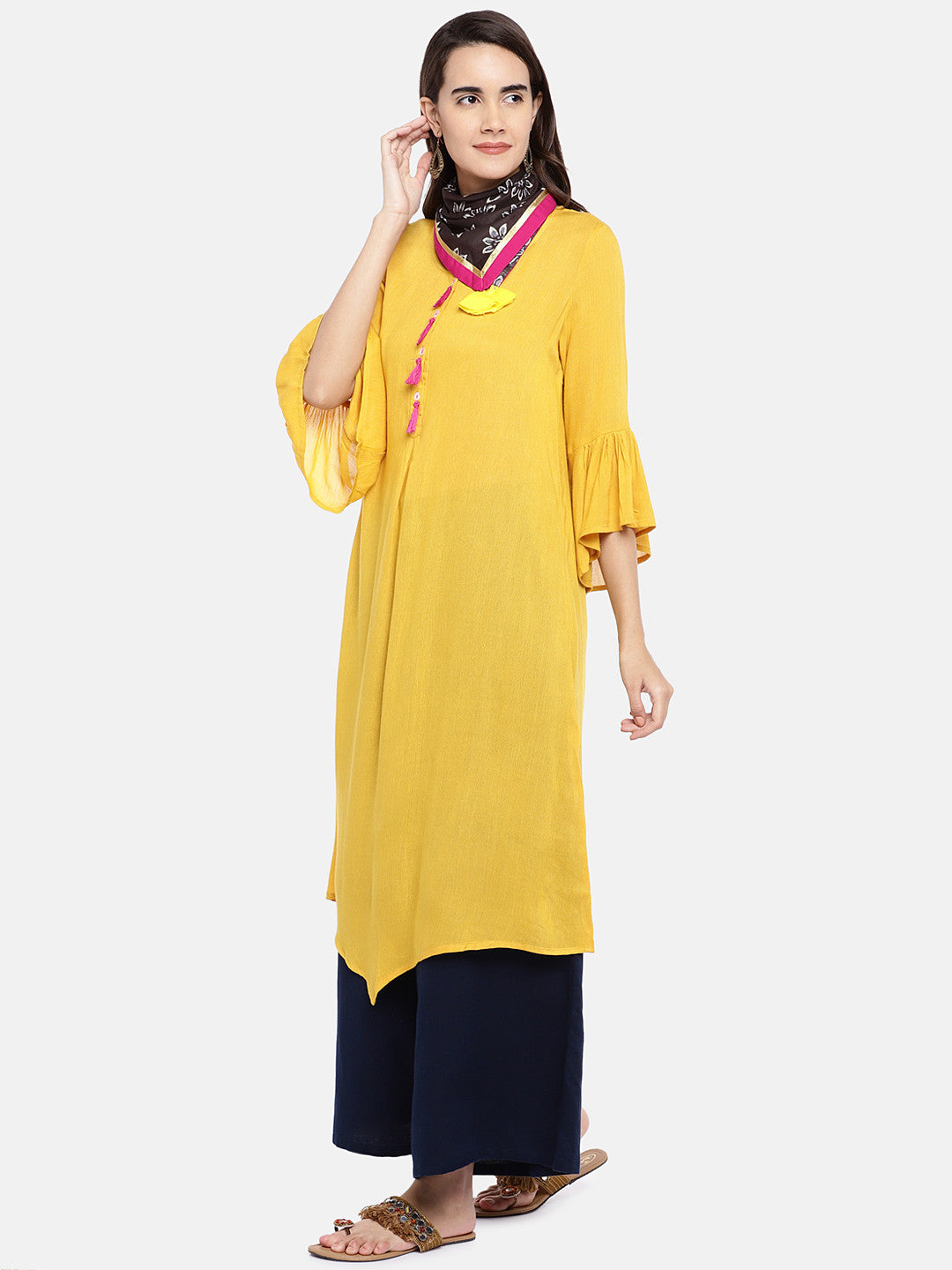 Women Yellow Solid A-Line Kurta-2