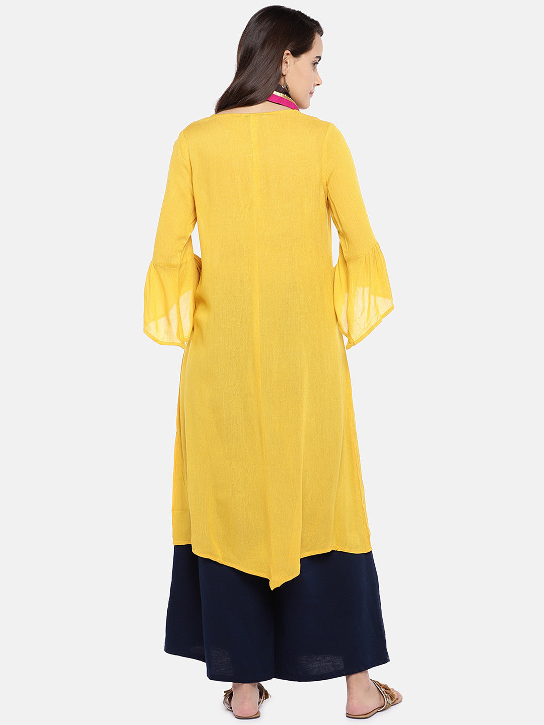 Women Yellow Solid A-Line Kurta-3