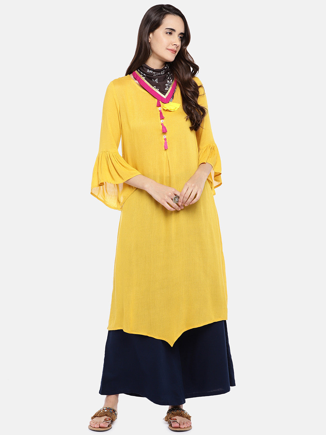 Women Yellow Solid A-Line Kurta-4