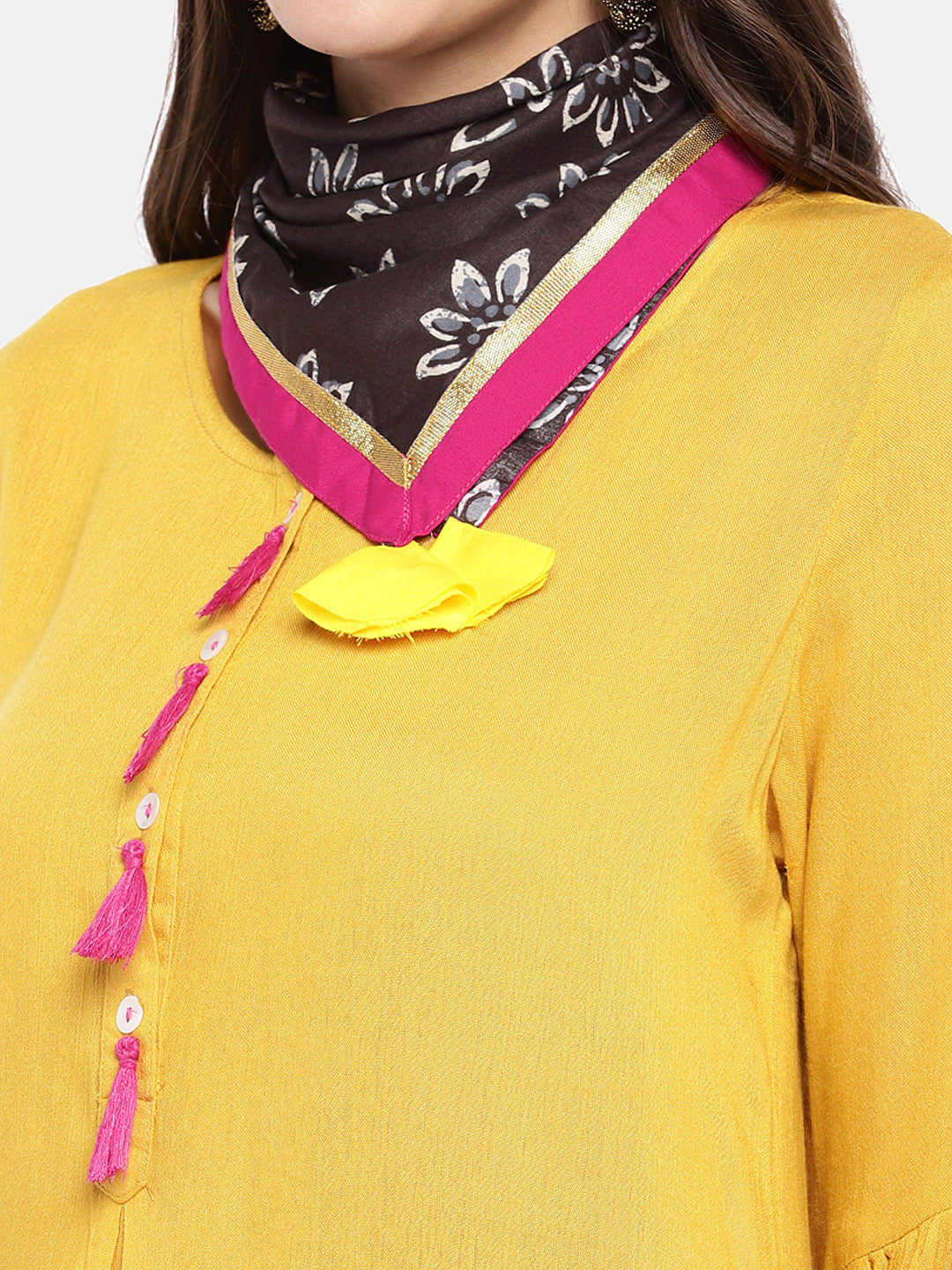 Women Yellow Solid A-Line Kurta-5