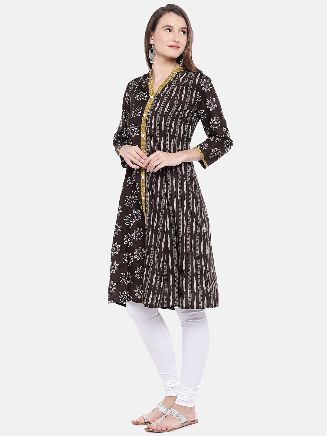 Women Brown Printed A-Line Kurta-2