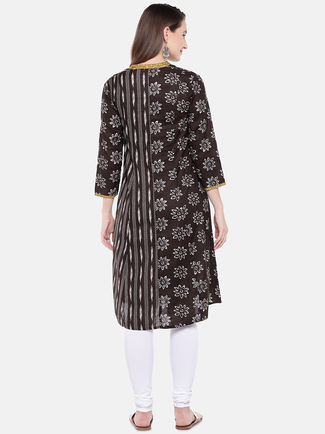 Women Brown Printed A-Line Kurta-3