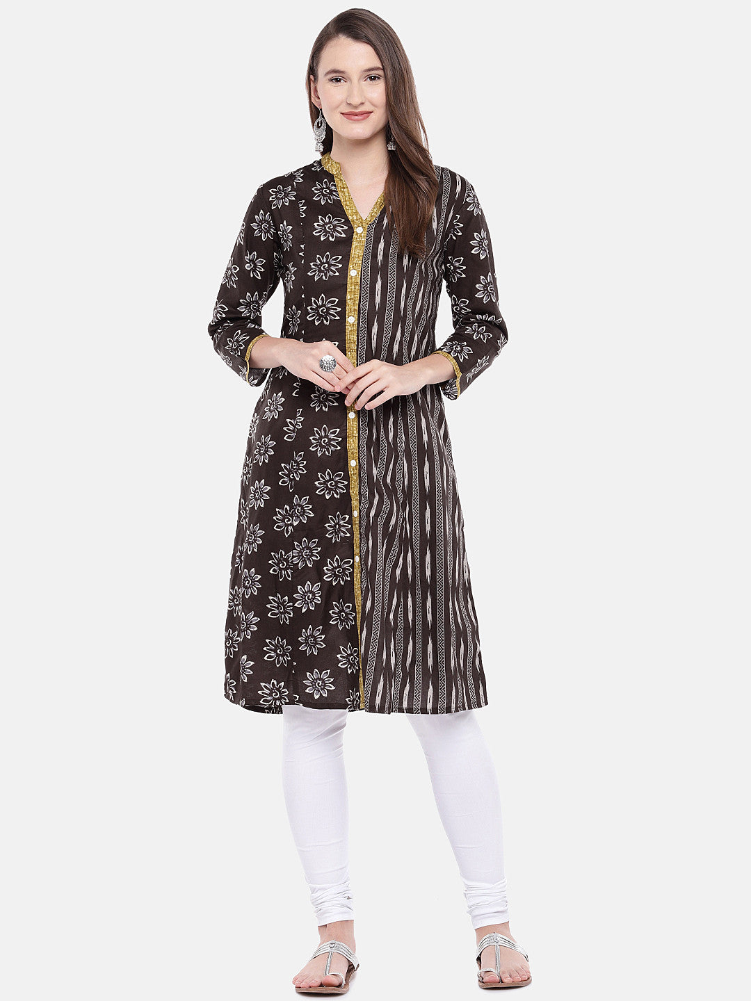 Women Brown Printed A-Line Kurta-4