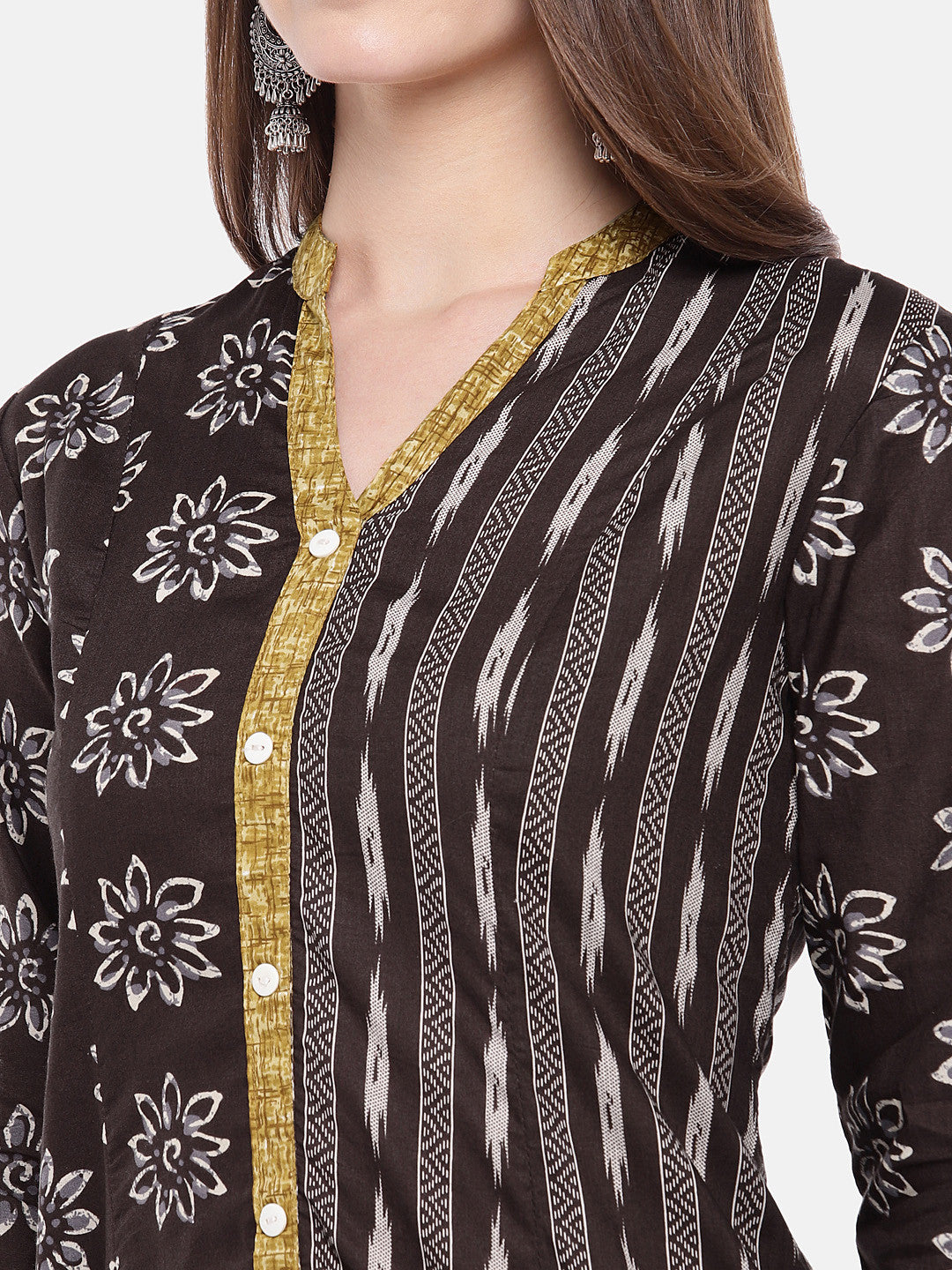Women Brown Printed A-Line Kurta-5