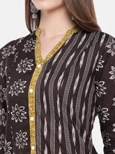 Load image into Gallery viewer, Women Brown Printed A-Line Kurta-5