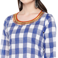Load image into Gallery viewer, Women Blue & White Checked A-Line Kurta-5
