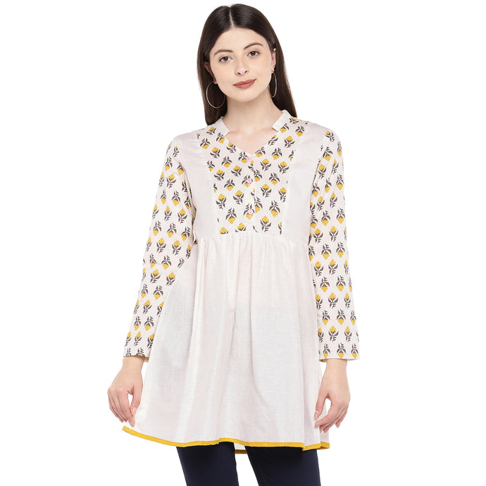 Women Beige & Yellow Printed Tunic-1