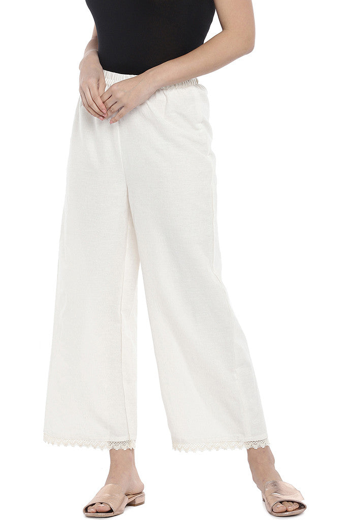Off-White Regular Fit Solid Regular Trousers-1