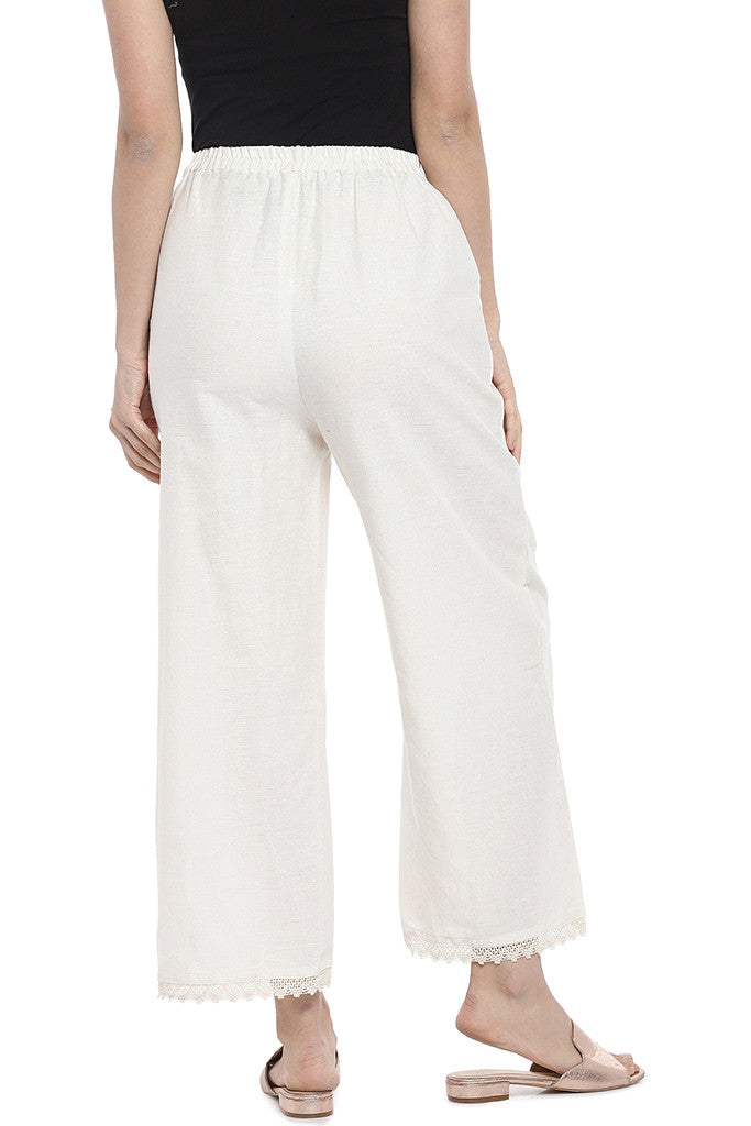 Off-White Regular Fit Solid Regular Trousers-3