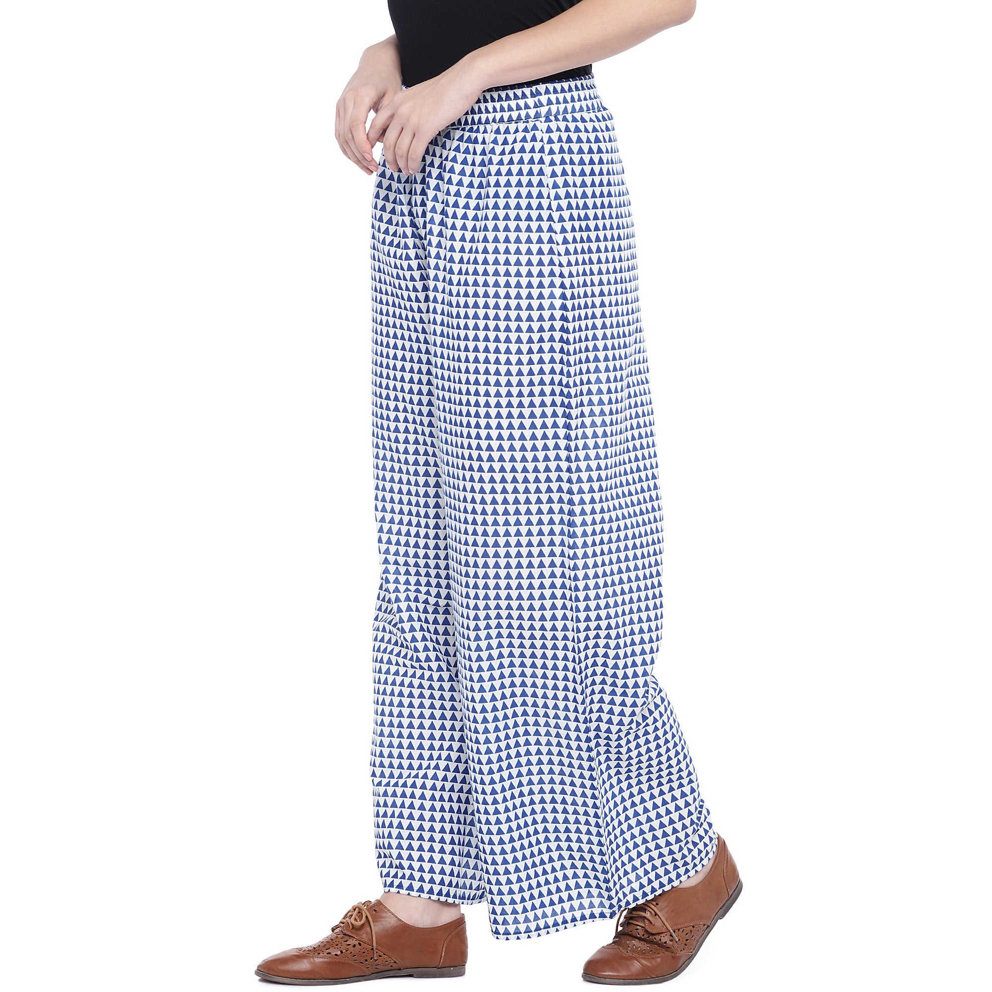Blue Regular Fit Printed Regular Trousers-2