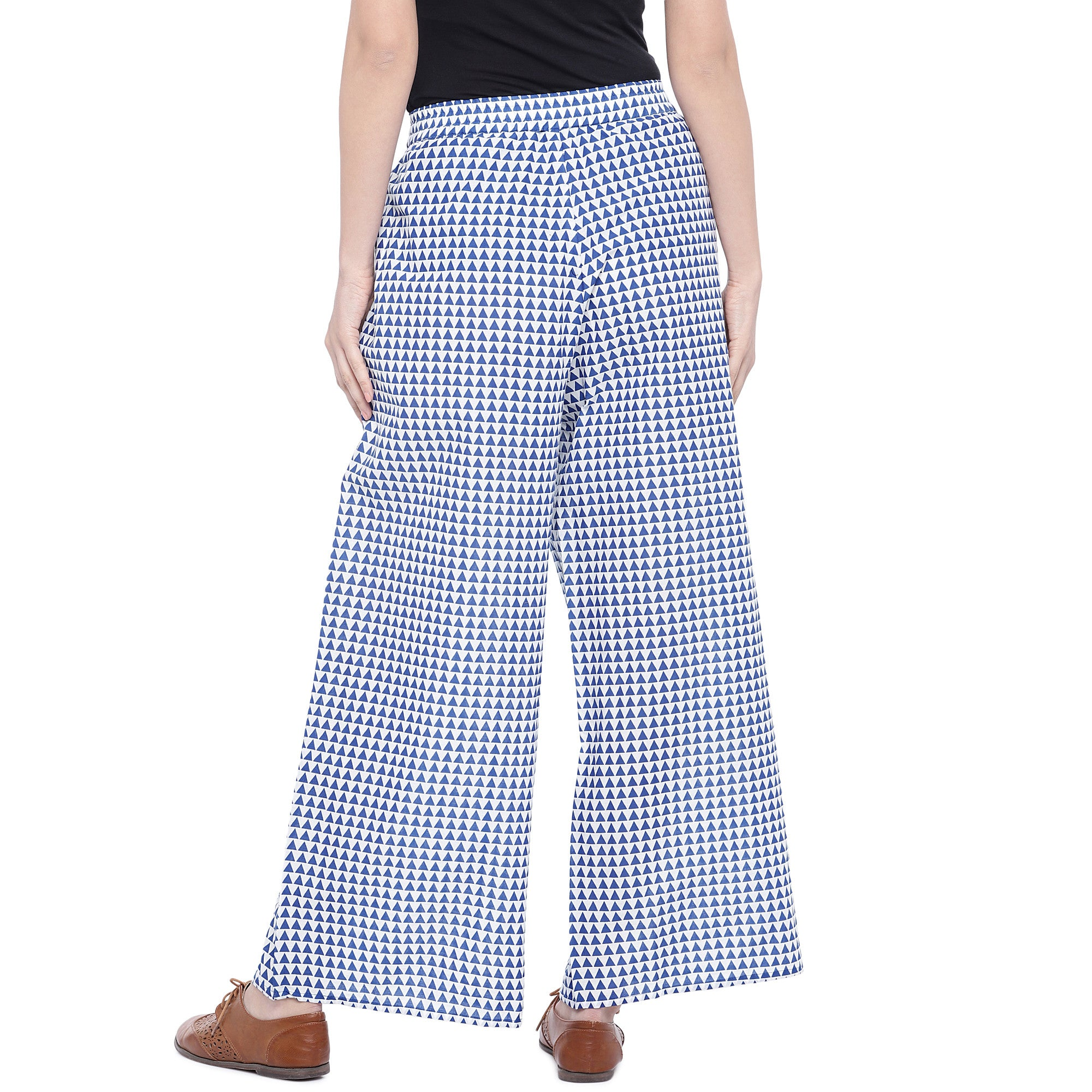 Blue Regular Fit Printed Regular Trousers-3