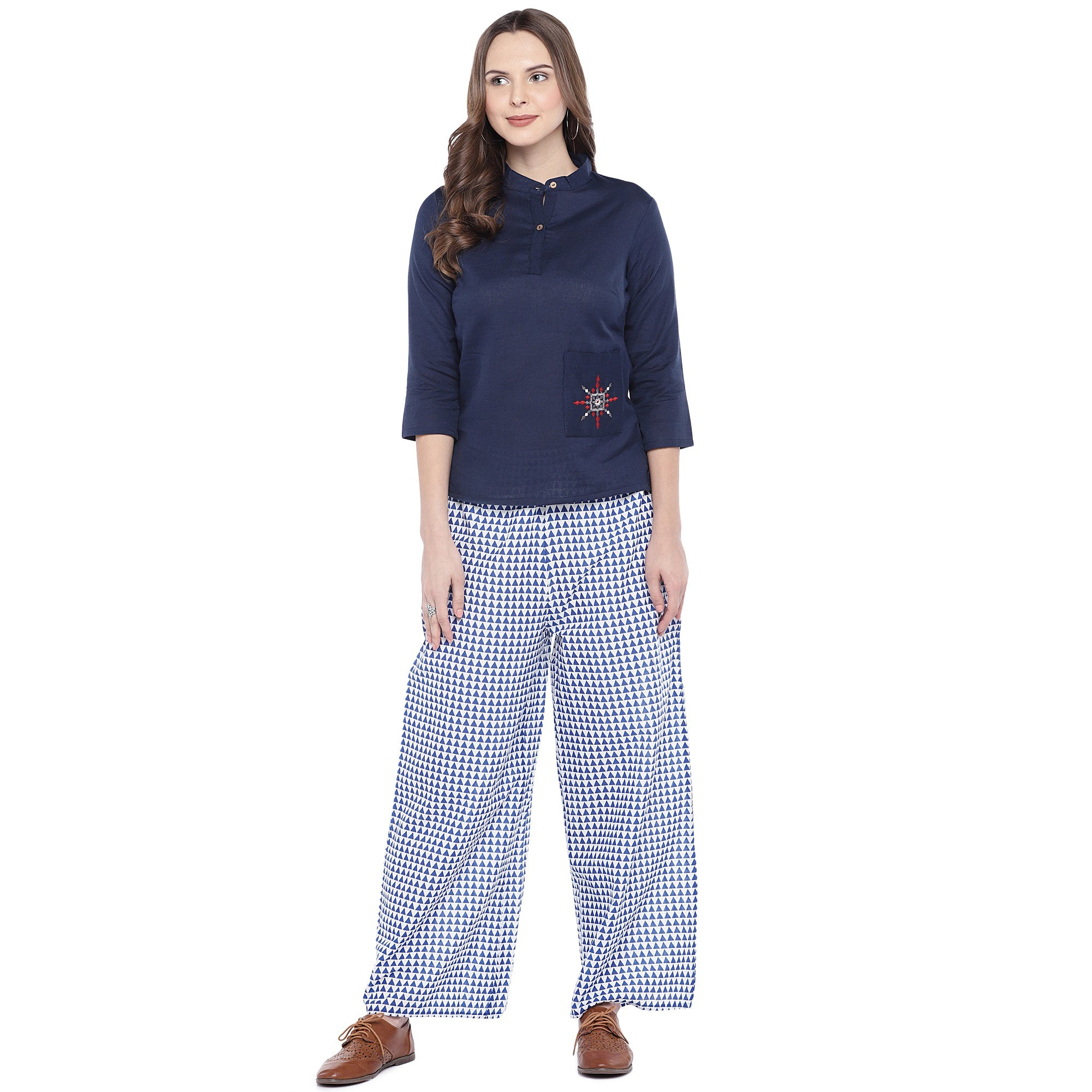 Blue Regular Fit Printed Regular Trousers-4