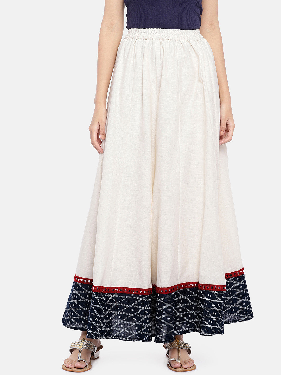White Solid Flared Skirt-1