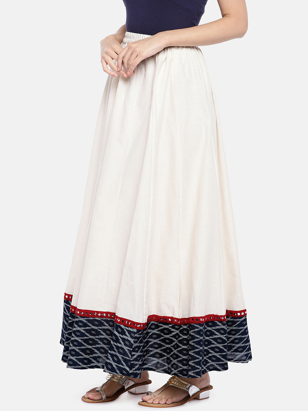 White Solid Flared Skirt-2