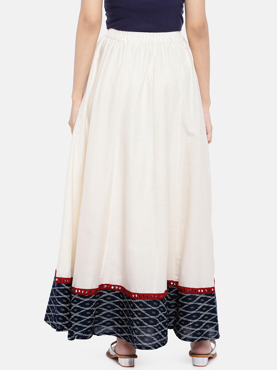 White Solid Flared Skirt-3