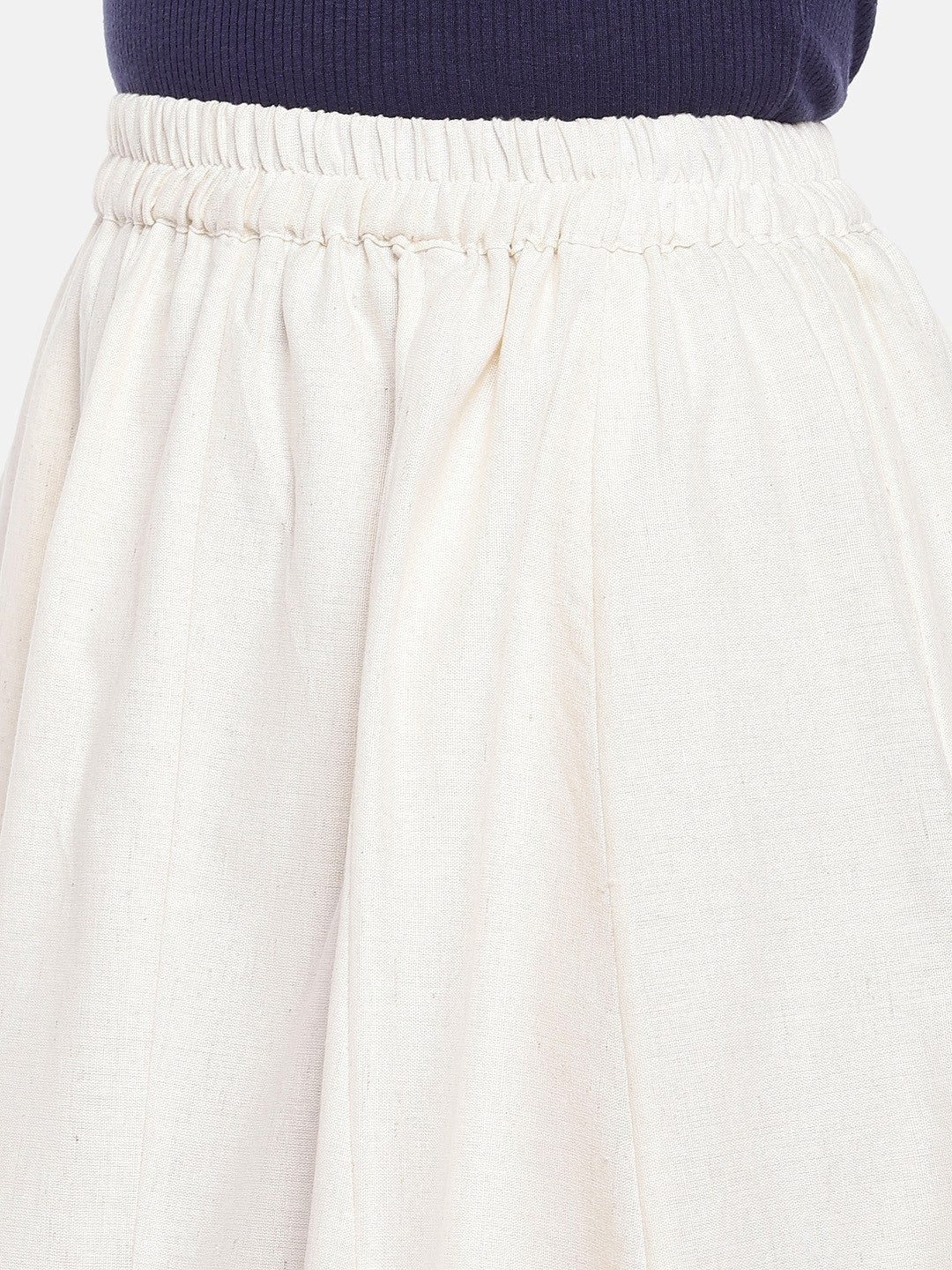 White Solid Flared Skirt-5