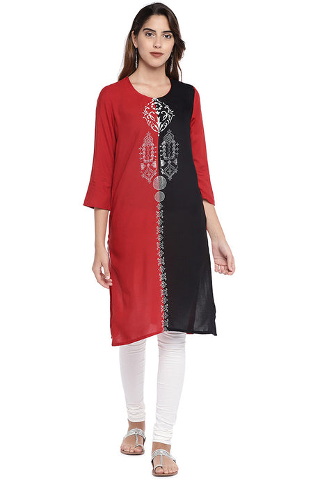 Red & Black Colourblocked Straight Kurta-1