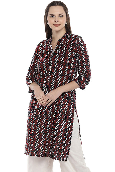 Maroon & Black Printed Straight Kurta-1