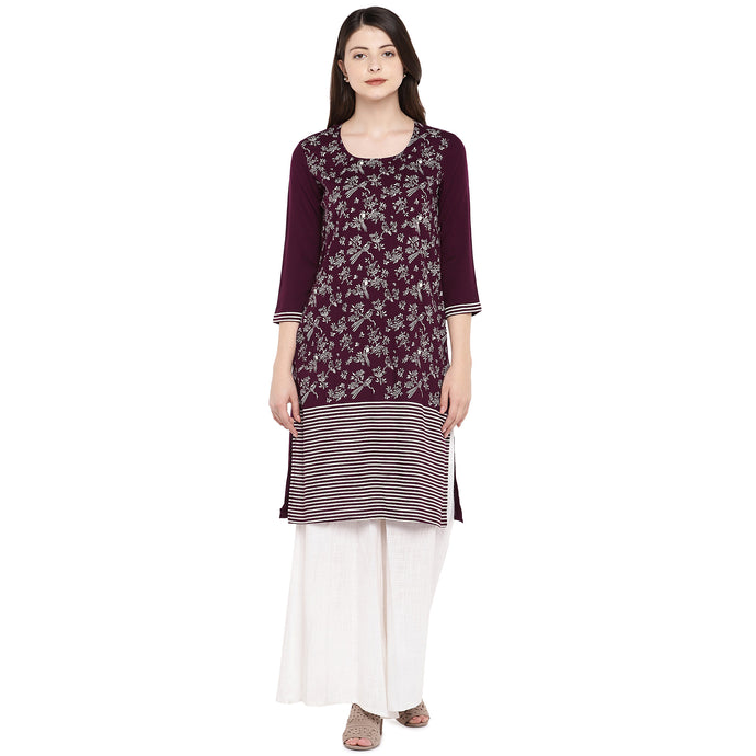 Women Purple & White Printed A-Line Kurta-1