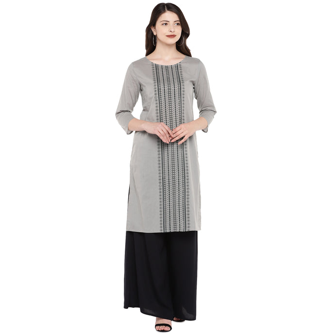 Women Grey Printed Straight Kurta-1