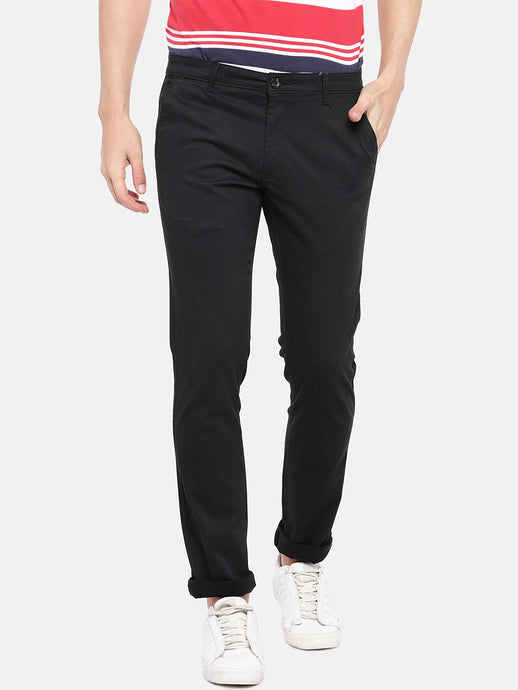 Black Regular Fit Solid Regular Trousers-1