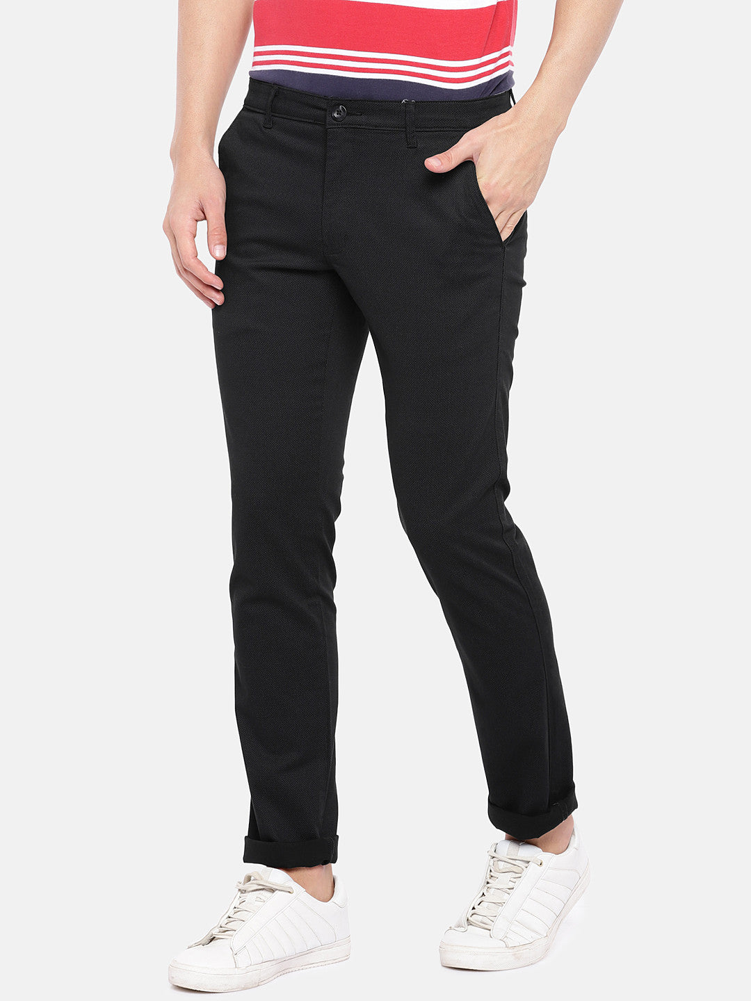 Black Regular Fit Solid Regular Trousers-2