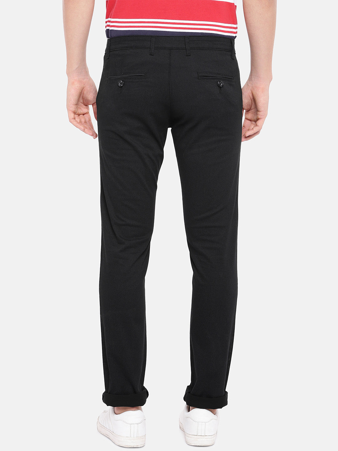 Black Regular Fit Solid Regular Trousers-3