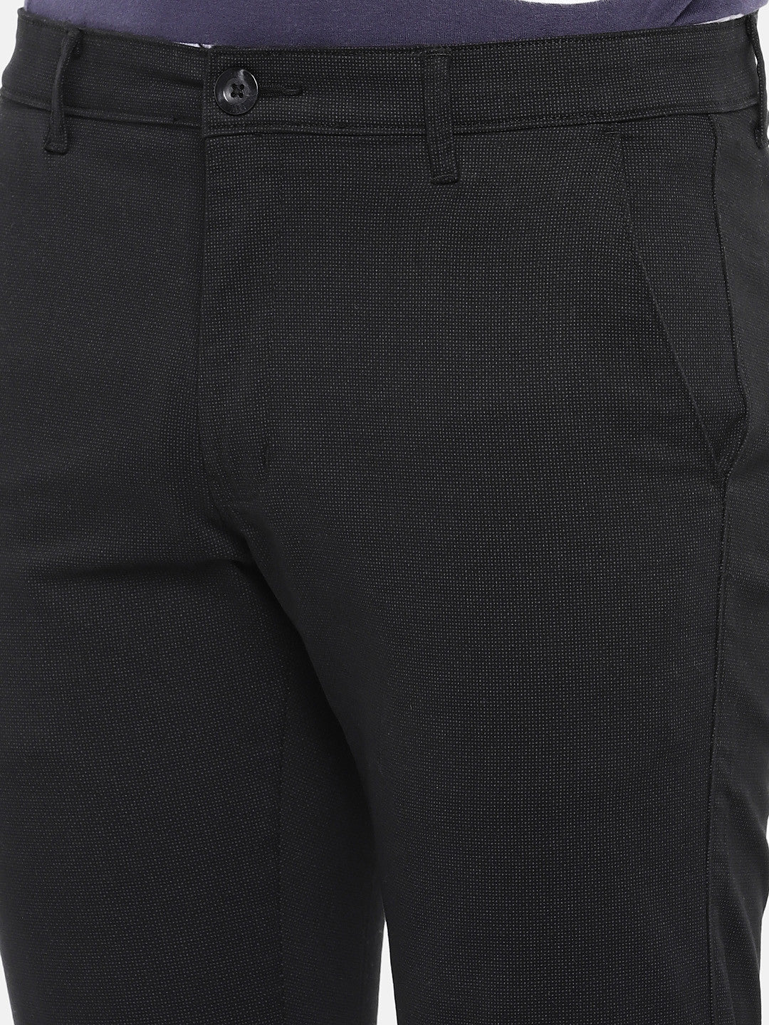 Black Regular Fit Solid Regular Trousers-5