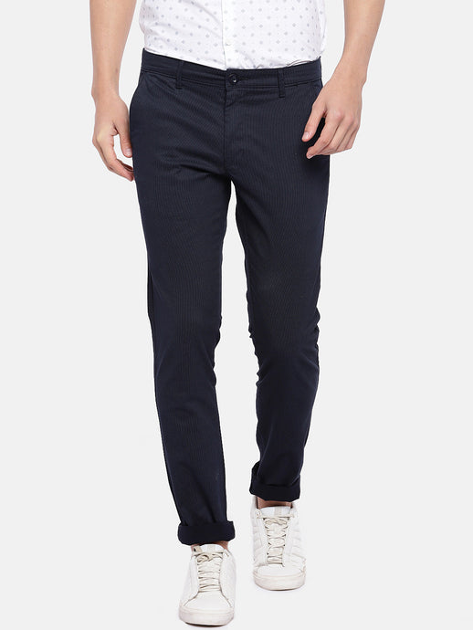 Navy Blue Regular Fit Striped Regular Trousers-1