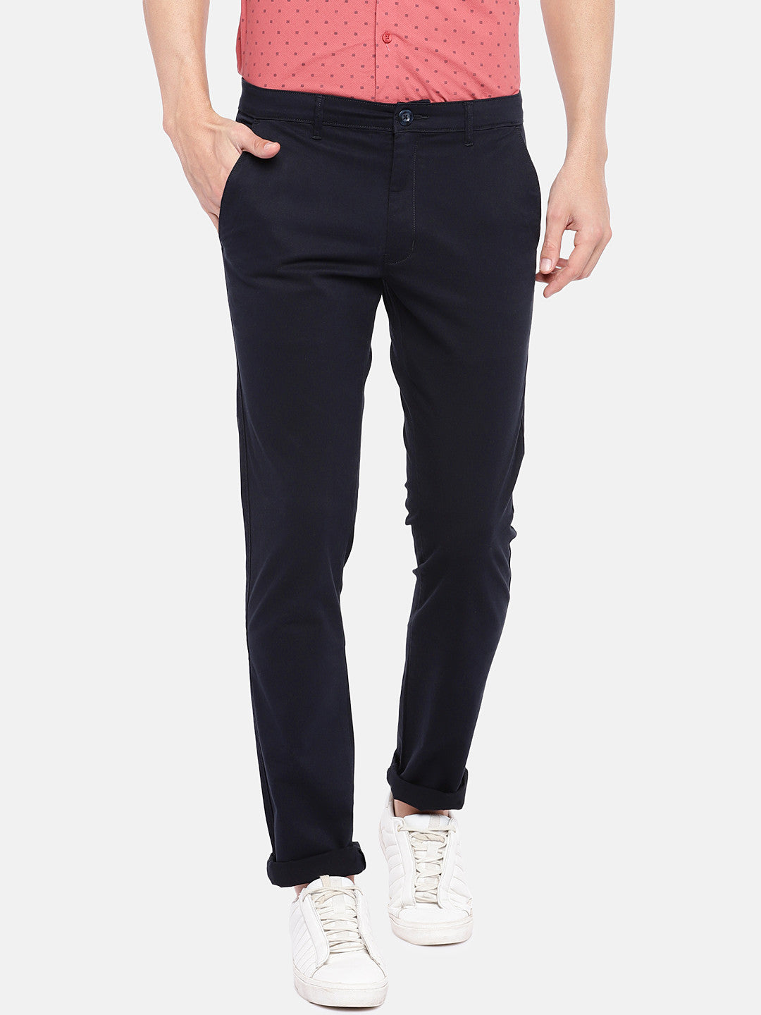 Navy Blue Regular Fit Solid Regular Trousers-1