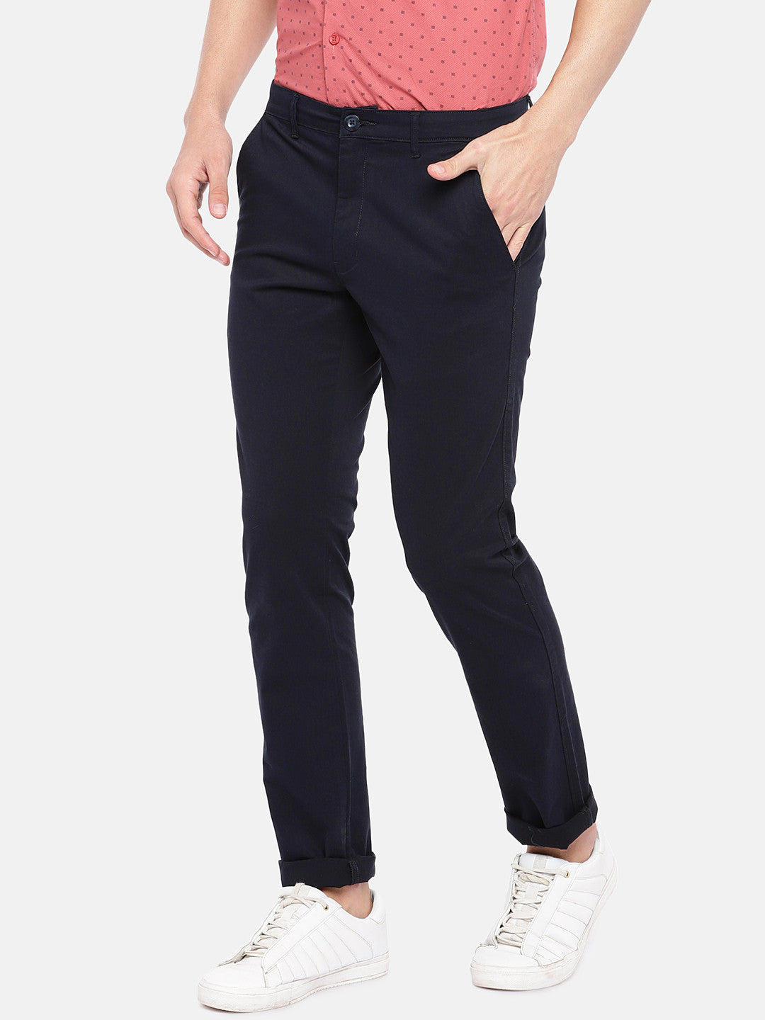 Navy Blue Regular Fit Solid Regular Trousers-2