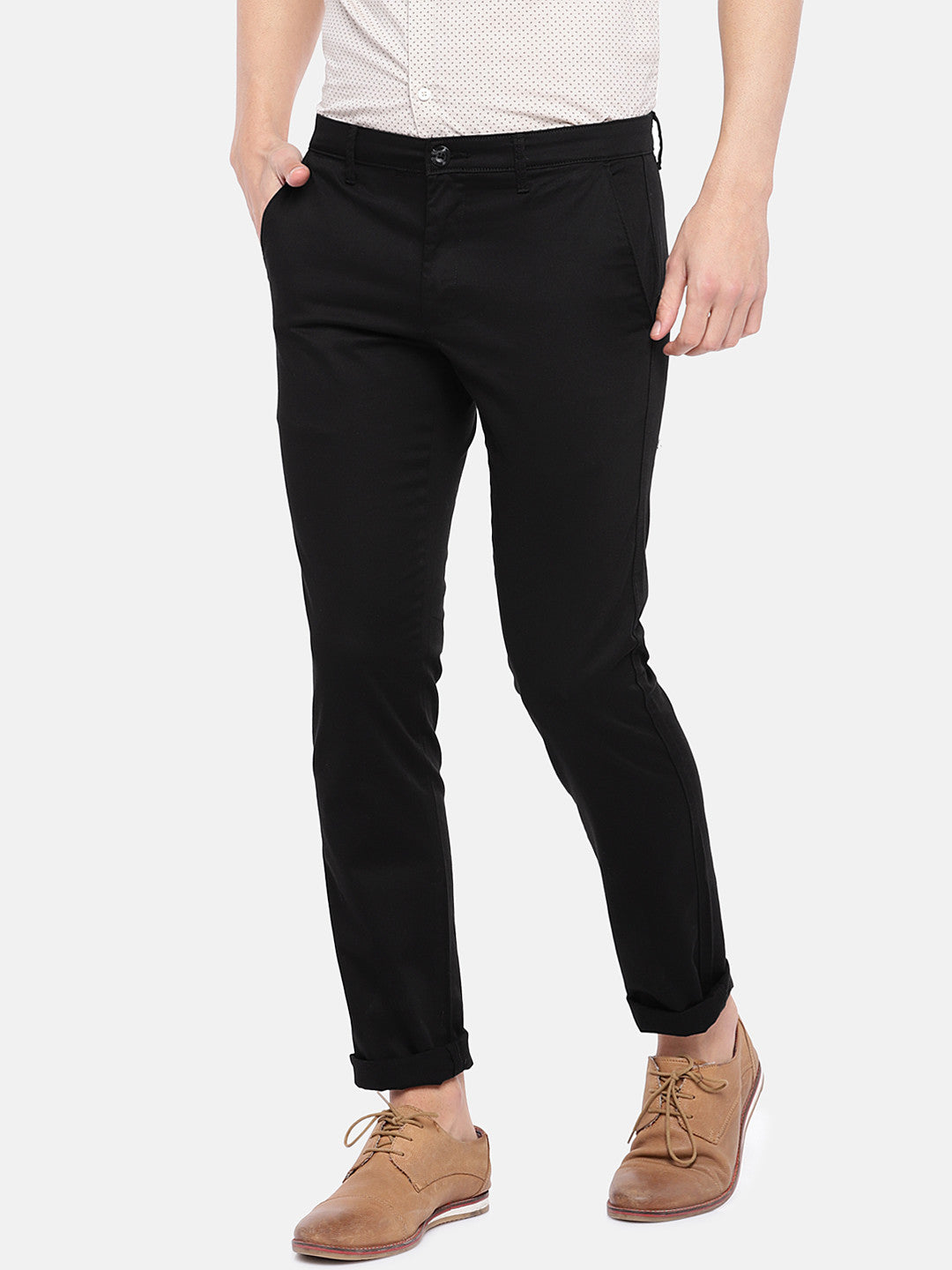Black Regular Fit Solid Chinos-2