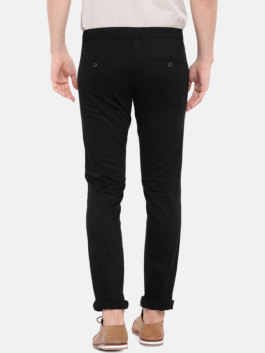 Black Regular Fit Solid Chinos-3