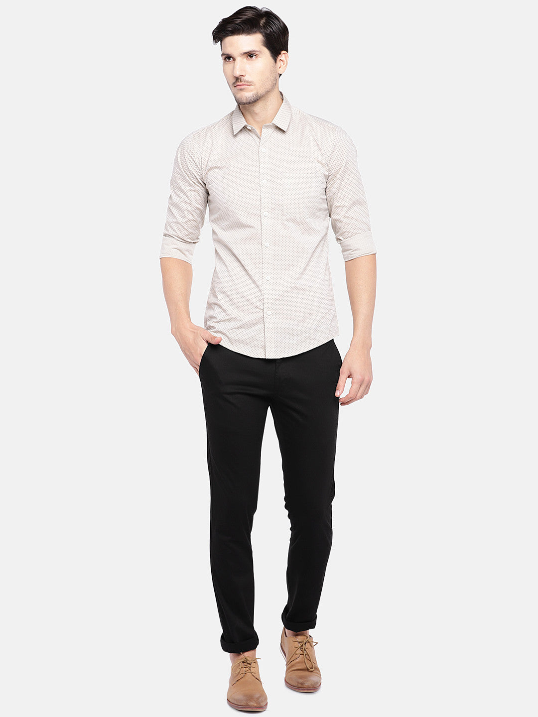 Black Regular Fit Solid Chinos-4