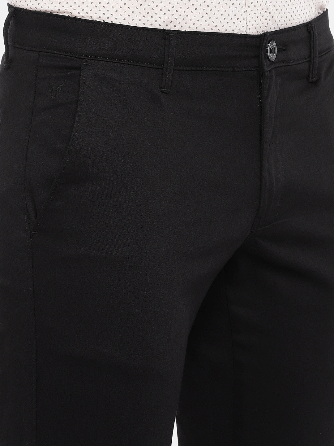 Black Regular Fit Solid Chinos-5