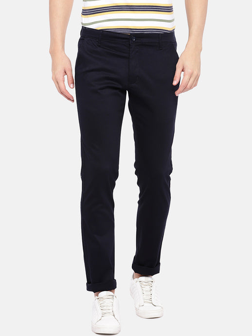 Navy Blue Regular Fit Solid Chinos-1