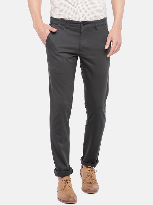 Grey Regular Fit Solid Chinos-1