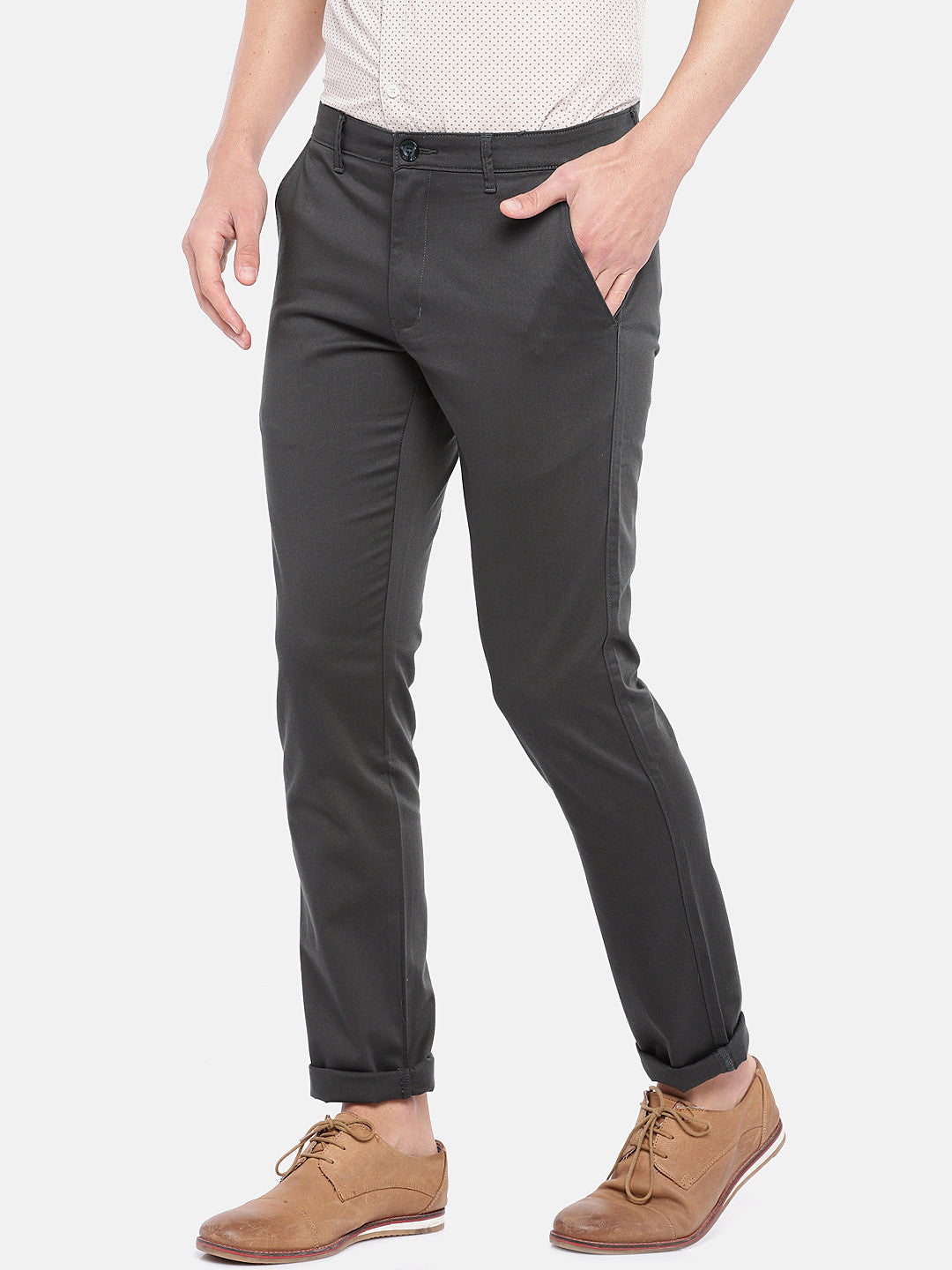 Grey Regular Fit Solid Chinos-2