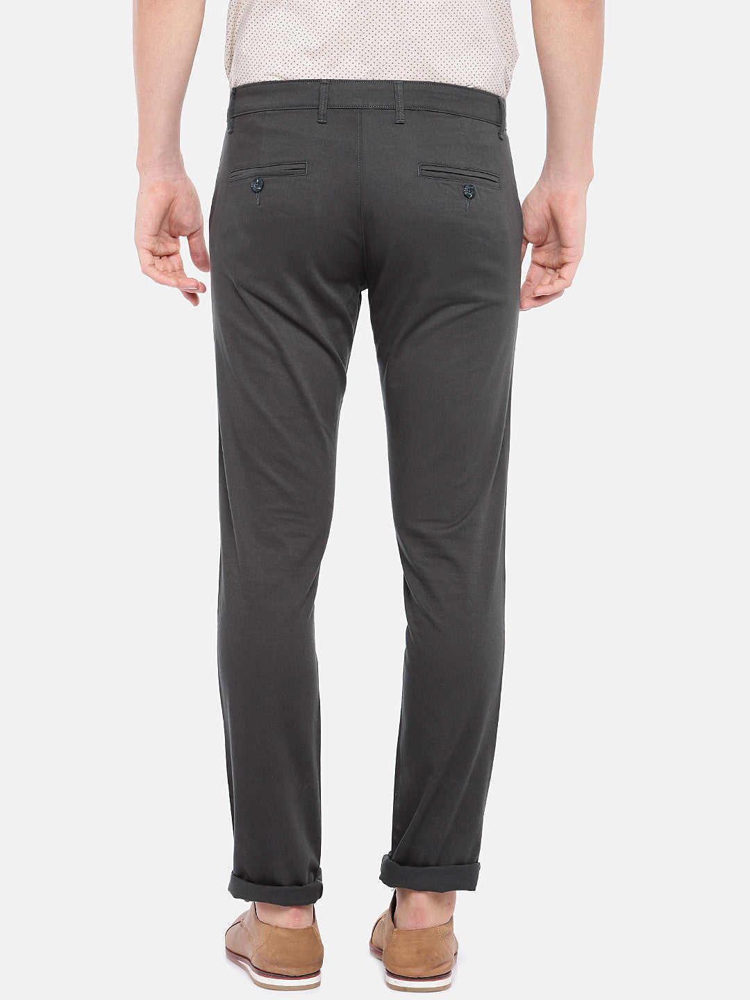 Grey Regular Fit Solid Chinos-3