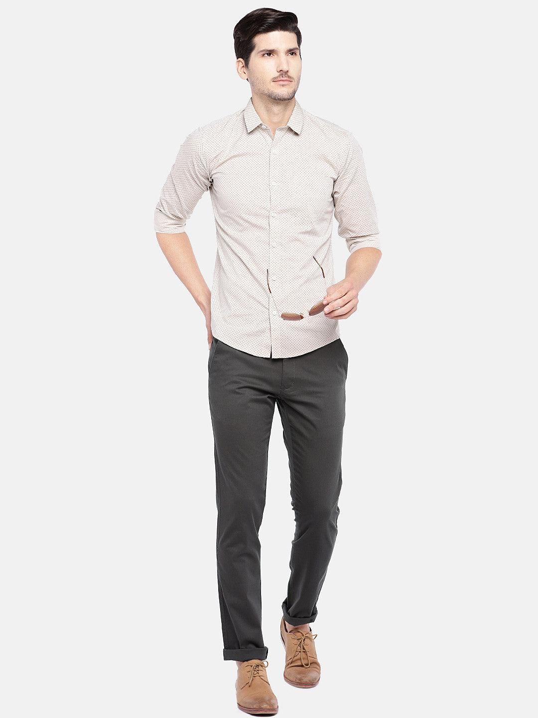 Grey Regular Fit Solid Chinos-4