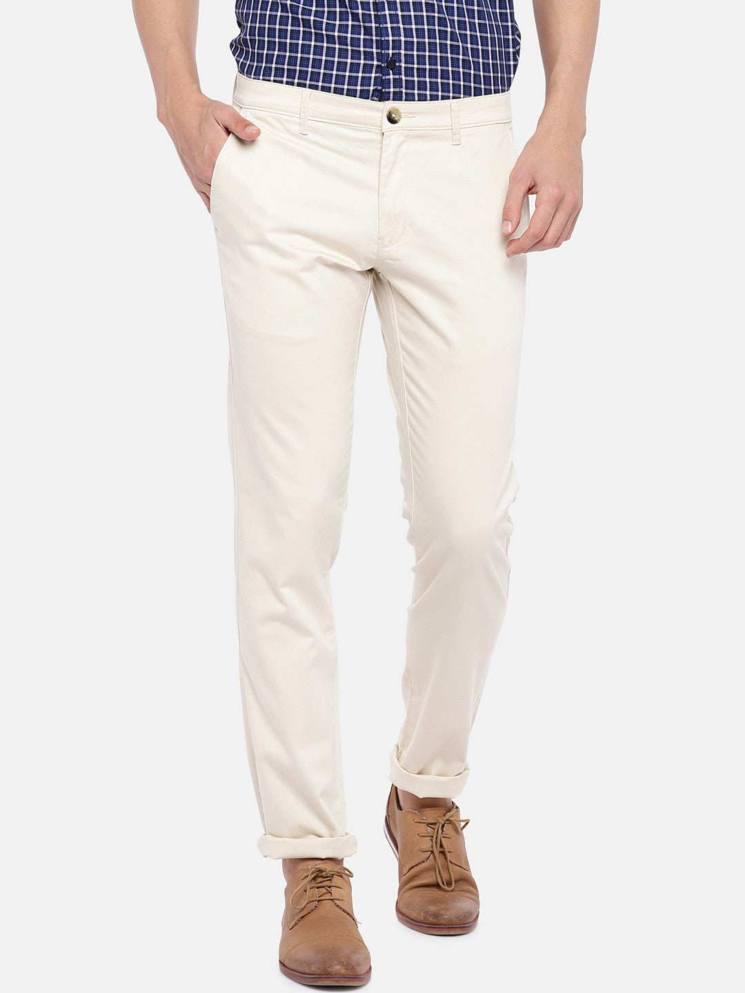 Cream-Coloured Regular Fit Solid Chinos-1