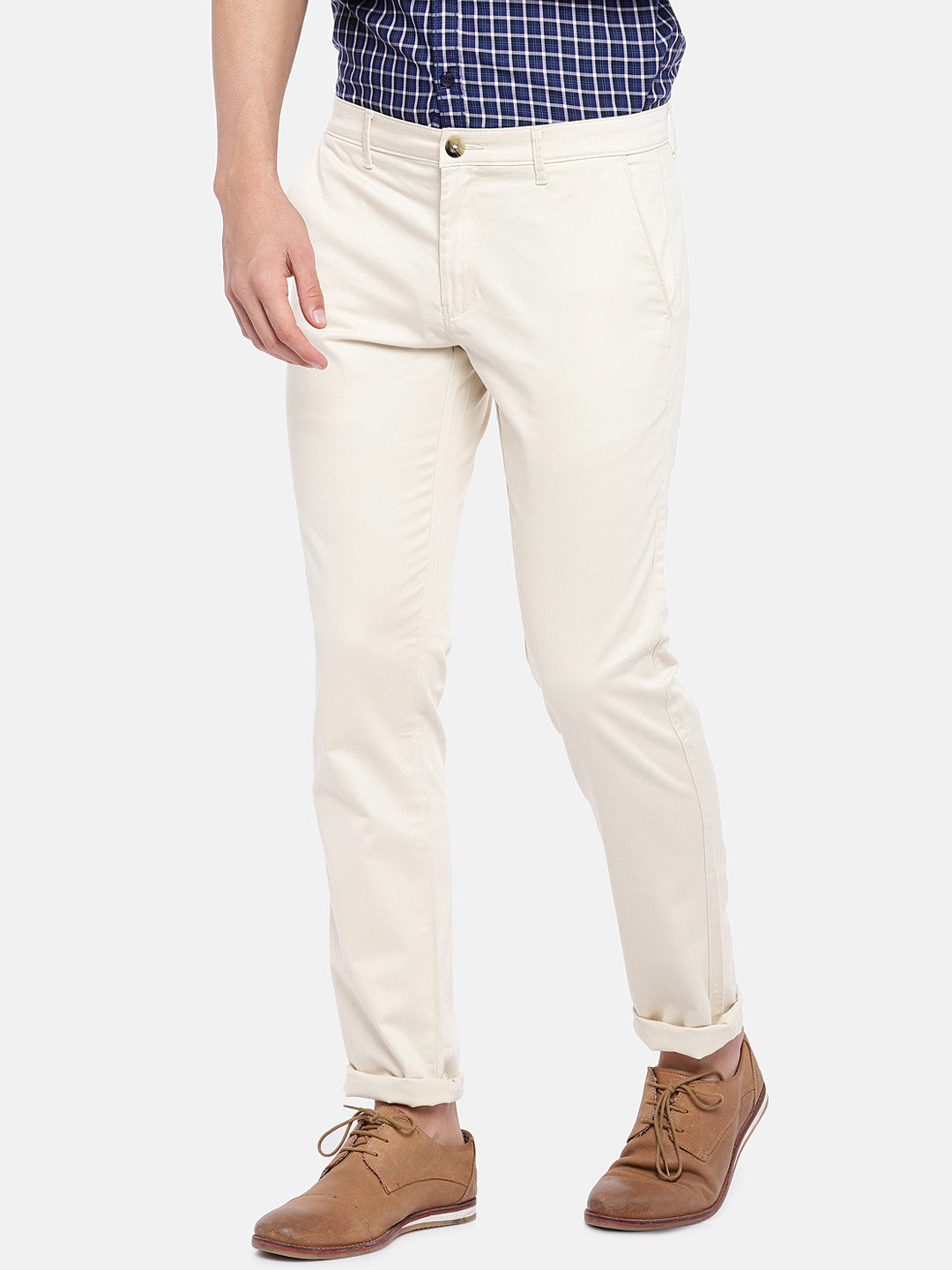 Cream-Coloured Regular Fit Solid Chinos-2