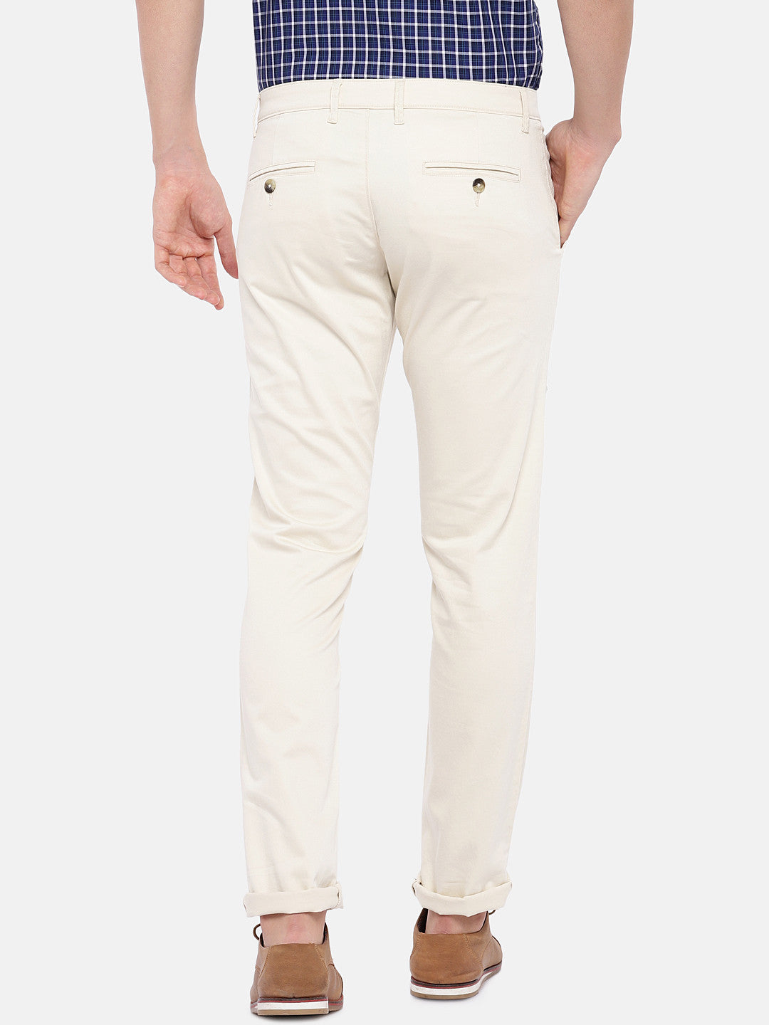 Cream-Coloured Regular Fit Solid Chinos-3
