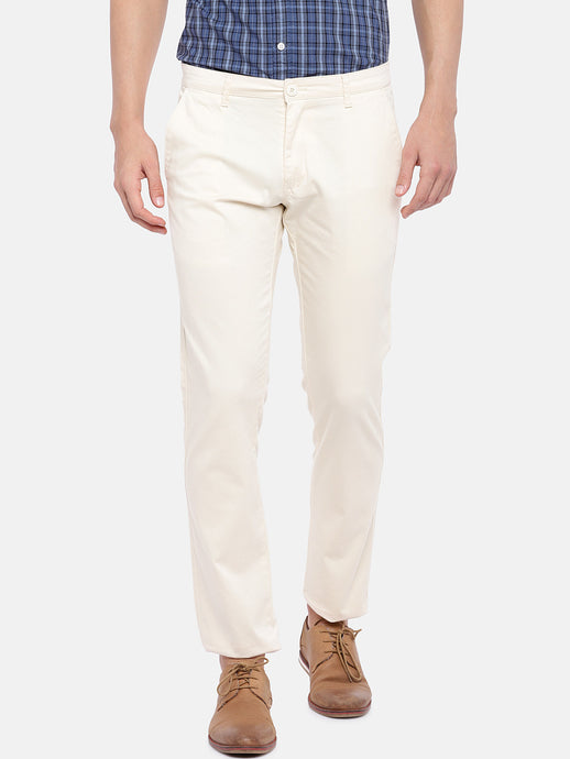 Beige Regular Fit Solid Regular Trousers-1
