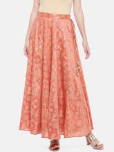 Load image into Gallery viewer, Orange Printed Flared Skirt-1
