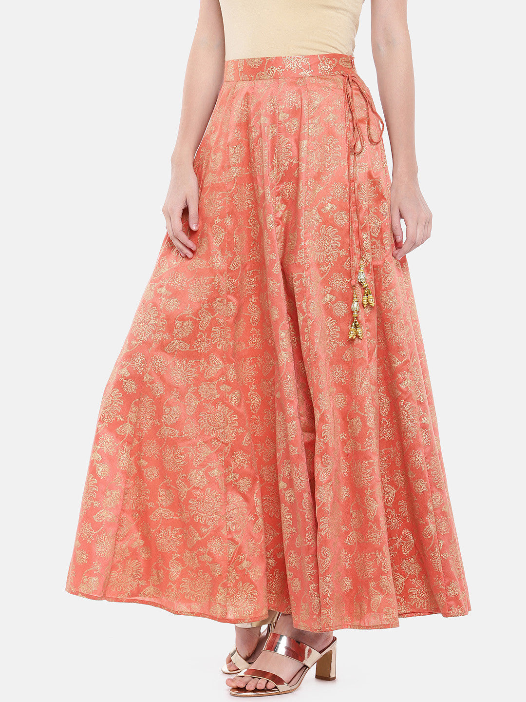Orange Printed Flared Skirt-2