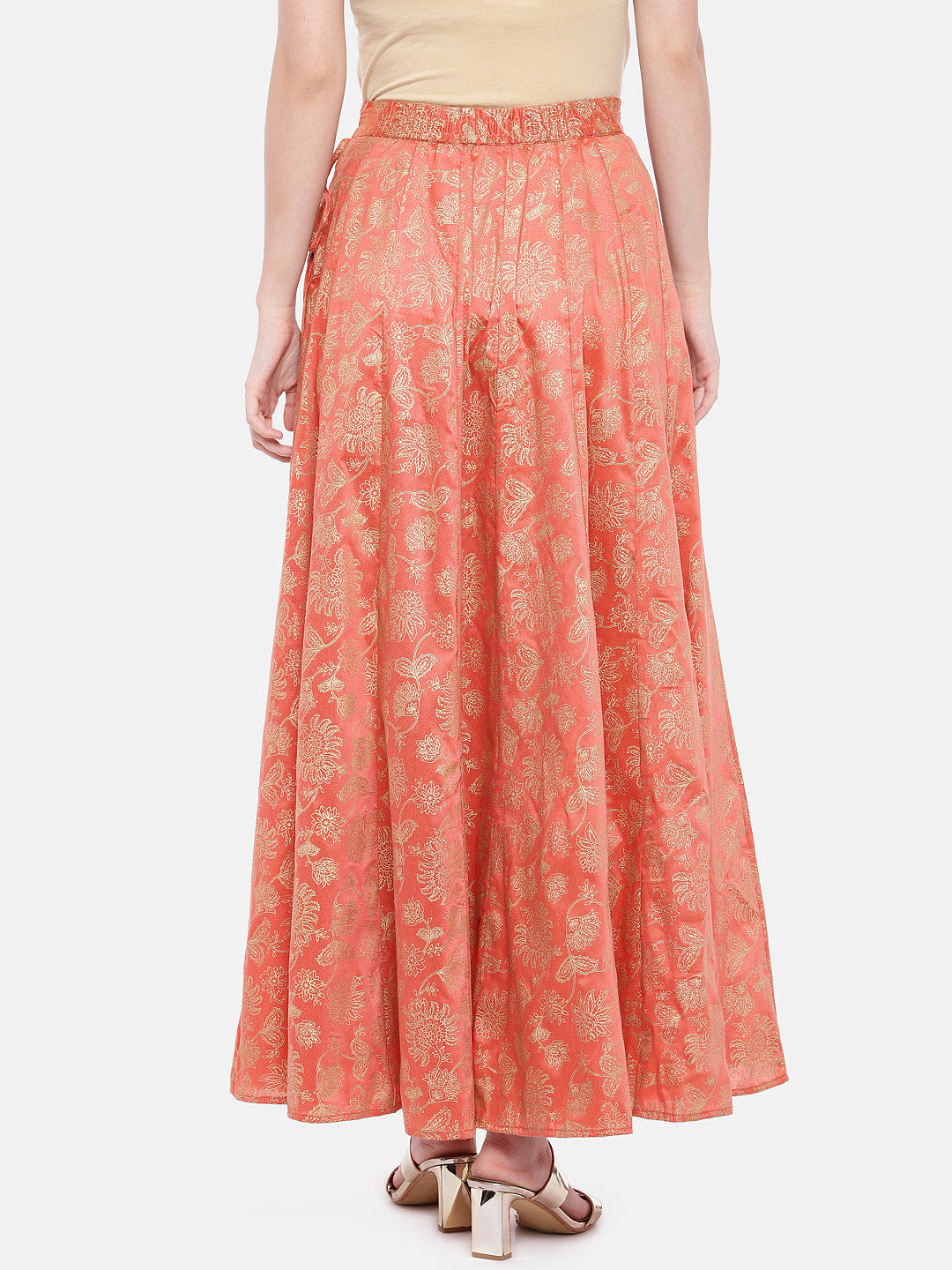 Orange Printed Flared Skirt-3