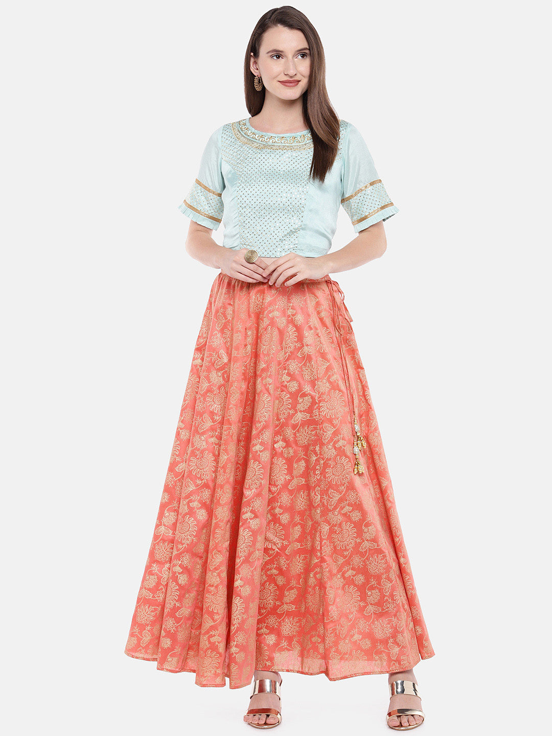 Orange Printed Flared Skirt-4