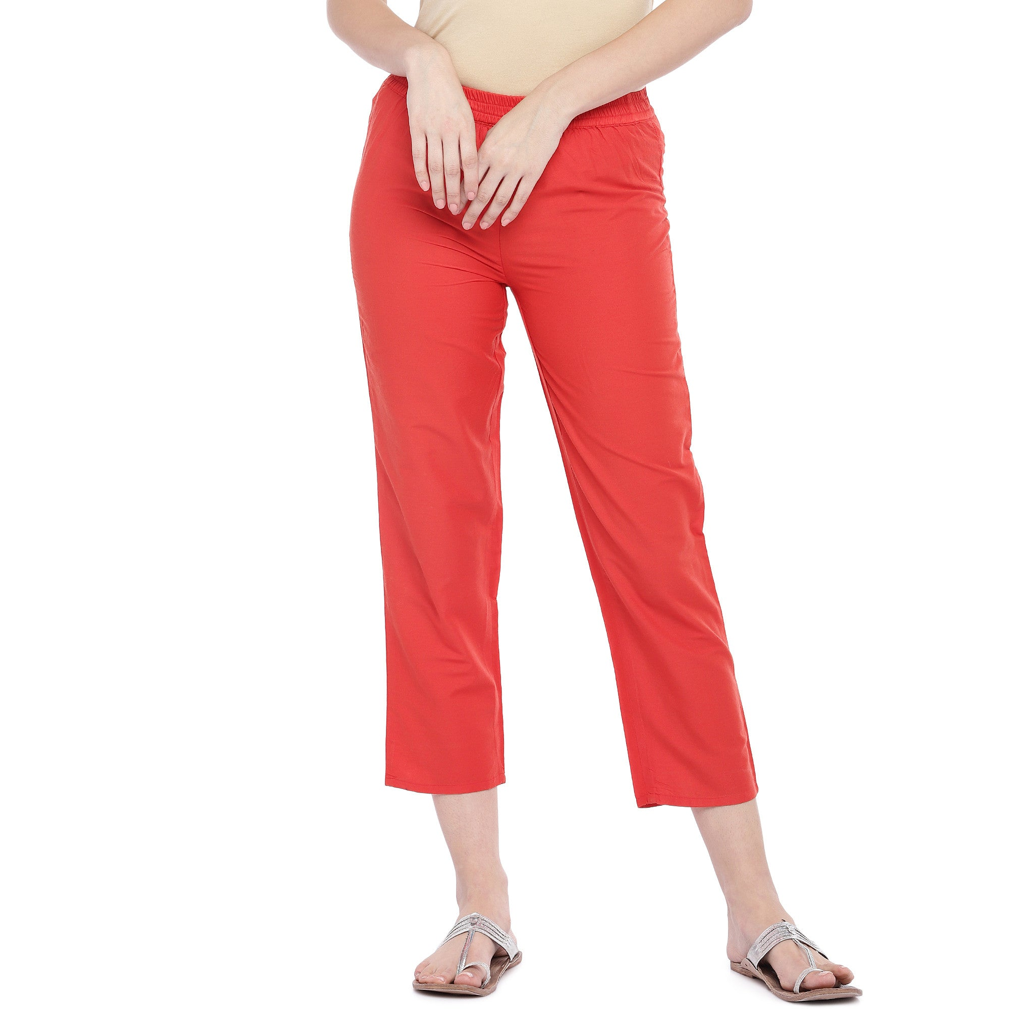 Red Regular Fit Solid Regular Trousers-1